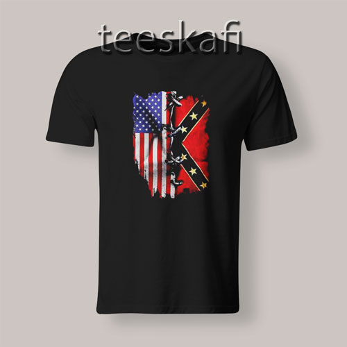 Tshirt American And Confederate Flag