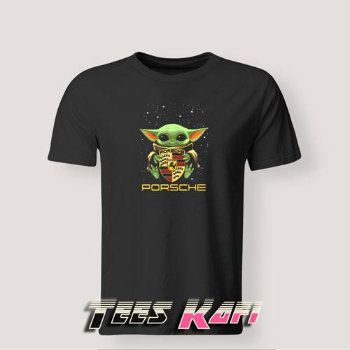 Tshirt Star Wars Baby Yoda Hug Porsche Ag Logo