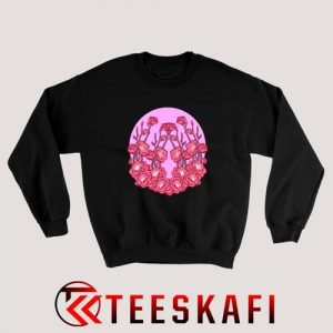 Sweatshirt Pink Flowers On A Background Of Pink Sun
