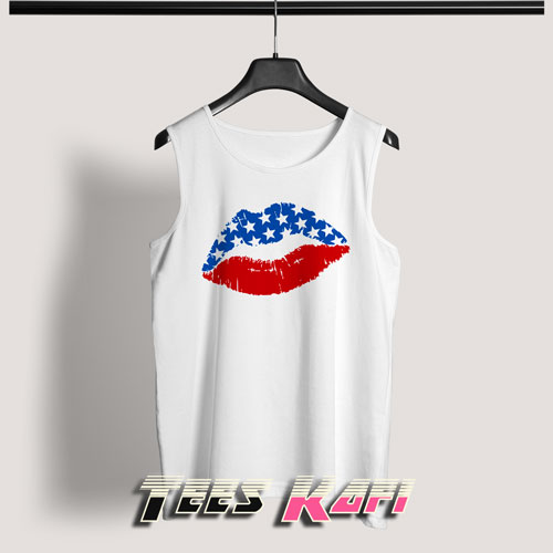 4th Of July Lips Tank Top