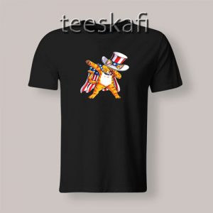 American Flag Patriot Cat Dabbing T-Shirt Independence Day S-3XL