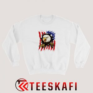 American Flag With Eagle Sweatshirt Independence Day S-3XL