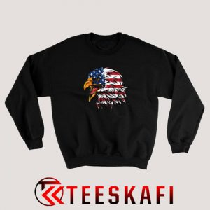 4th July Eagle American Flag Sweatshirt Patrotic Freedom S-3XL