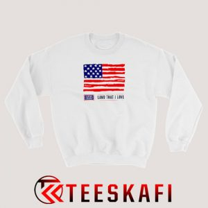 USO Land That I Love American Flag Sweatshirt 4th July S-3XL