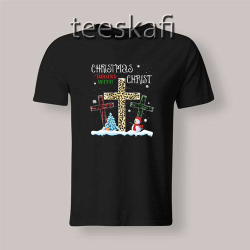 Christmas Begins With Christ Xmas Tree T-Shirt Size S-3XL